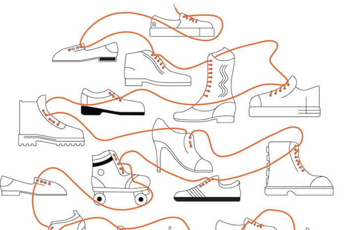Rysunek przedstawiający pomarańczową sznurówkę łączącą wiele par butów