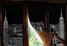 Roleta z dziurkami tworząca panoramę miasta