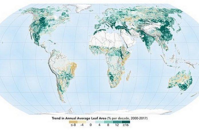 Mapa świata z zazielenieniem