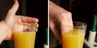 Dwa zdjęcia przedstawiające jak nie trzymać szklanki