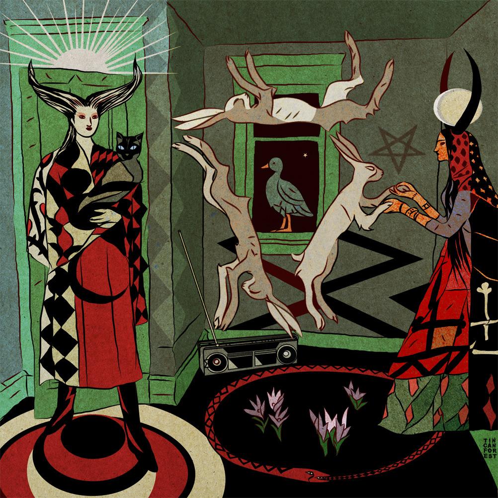 Rysunek przedstawiający czarownicę i króliki