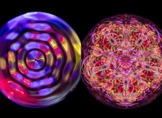 Wizualizacje przedstawiające dźwięki w postawi wielokolorowych kręgów