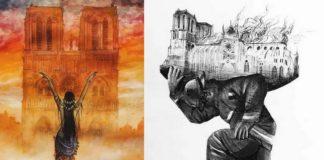 Dwie ilustracje upamiętniające pożar Notre Dame