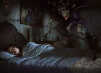 Rysunek przedstawiający śpiącą kobietę i demona