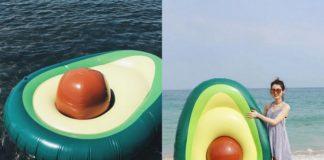 Dwa zdjęcia przedstawiające ponton w kształcie awokado