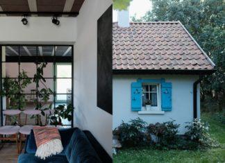 Wnętrze domu i dom z zewnątrz z niebieskimi okiennicami