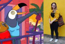 Fragment serialu Tuca i Bertie i zdjęcie dziewczyny w żółtej bluzie na tle żółtej ściany