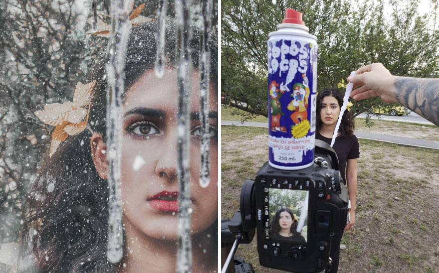Portret dziewczyny z soplami lodu