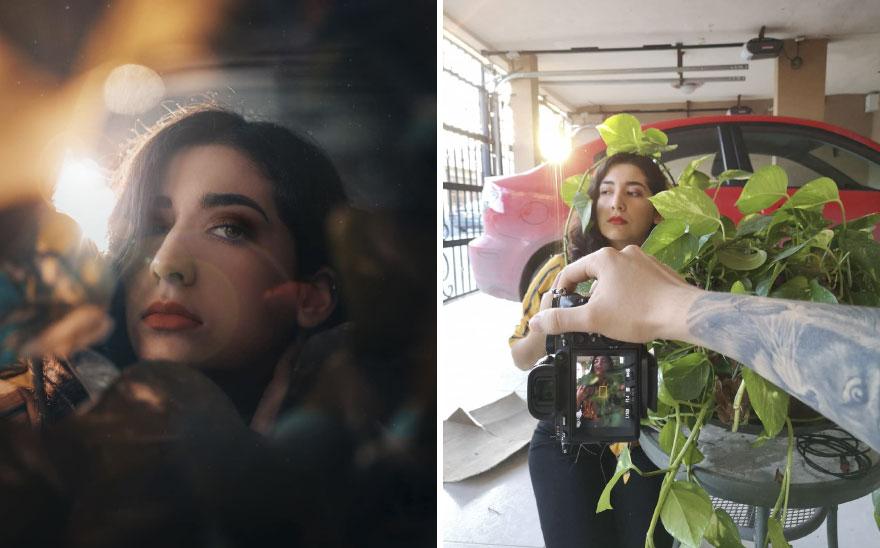 Portret dziewczyny z liściami przy twarzy