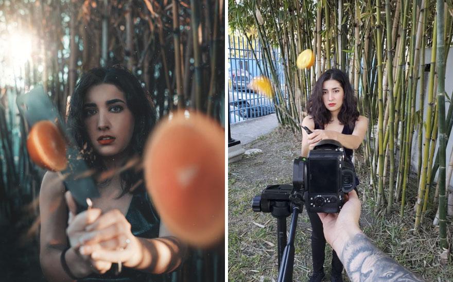 Portret dziewczyny tnącej pomarancze w powietrzu