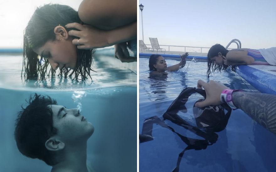 Zdjęcie dziewczyny całującej się z chłopakiem pod wodą