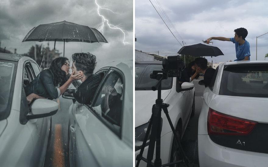 Zdjęcie pary wychylającej się z samochodu podczas burzy