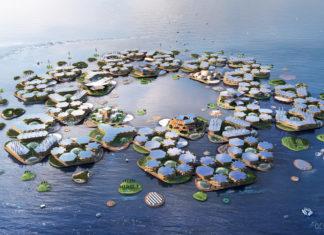 Wizualizacja miasta pływającego na oceanie