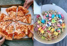 Pokrojona pizza i miska płatków śniadaniowych