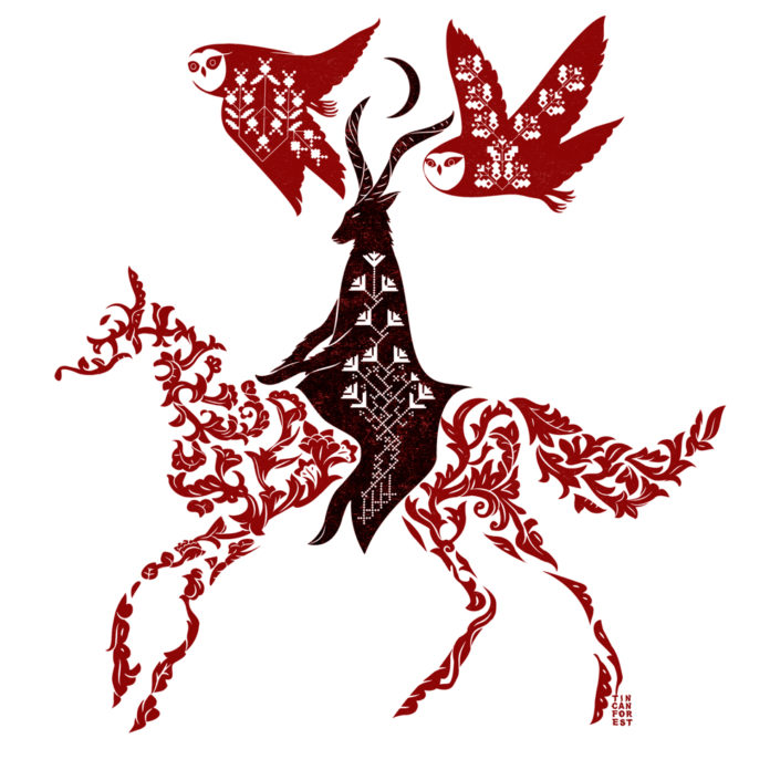 Prosta ilustracja przedstawiająca czarnowcę na koniu