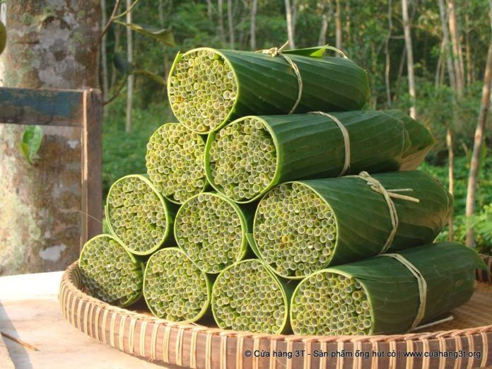 Słomki z trawy włożone w stos