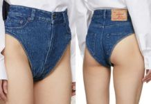 Jeansowe szorty bez nogawek na modelce