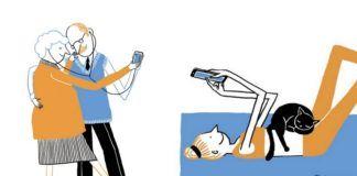 Dwie ilustracje przedstawiające ludzi ze smartfonami