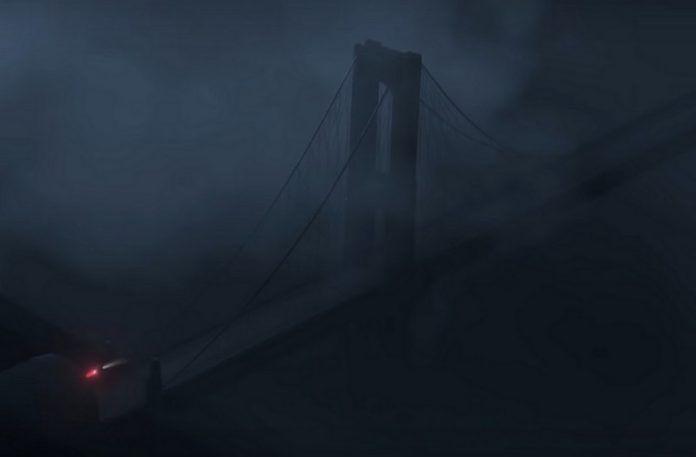 Widok na zadymiony most