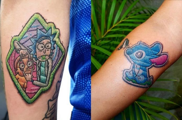 Tatuaże, które wyglądają jak hafty