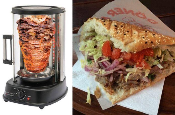 Domowa maszynka do kebaba i kebab w bułce