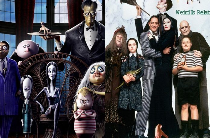 Animacja oraz zdjęcie przedstawiającę rodzinę ubraną na czarno
