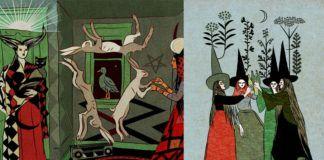 Dwie grafiki przedstawiające czarownice