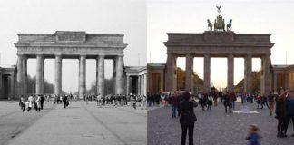 Dwa zdjęcia przedstawiające bramę brandeburską
