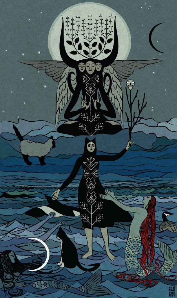 Rysunek przedstawiający czarownicę, koty i morze