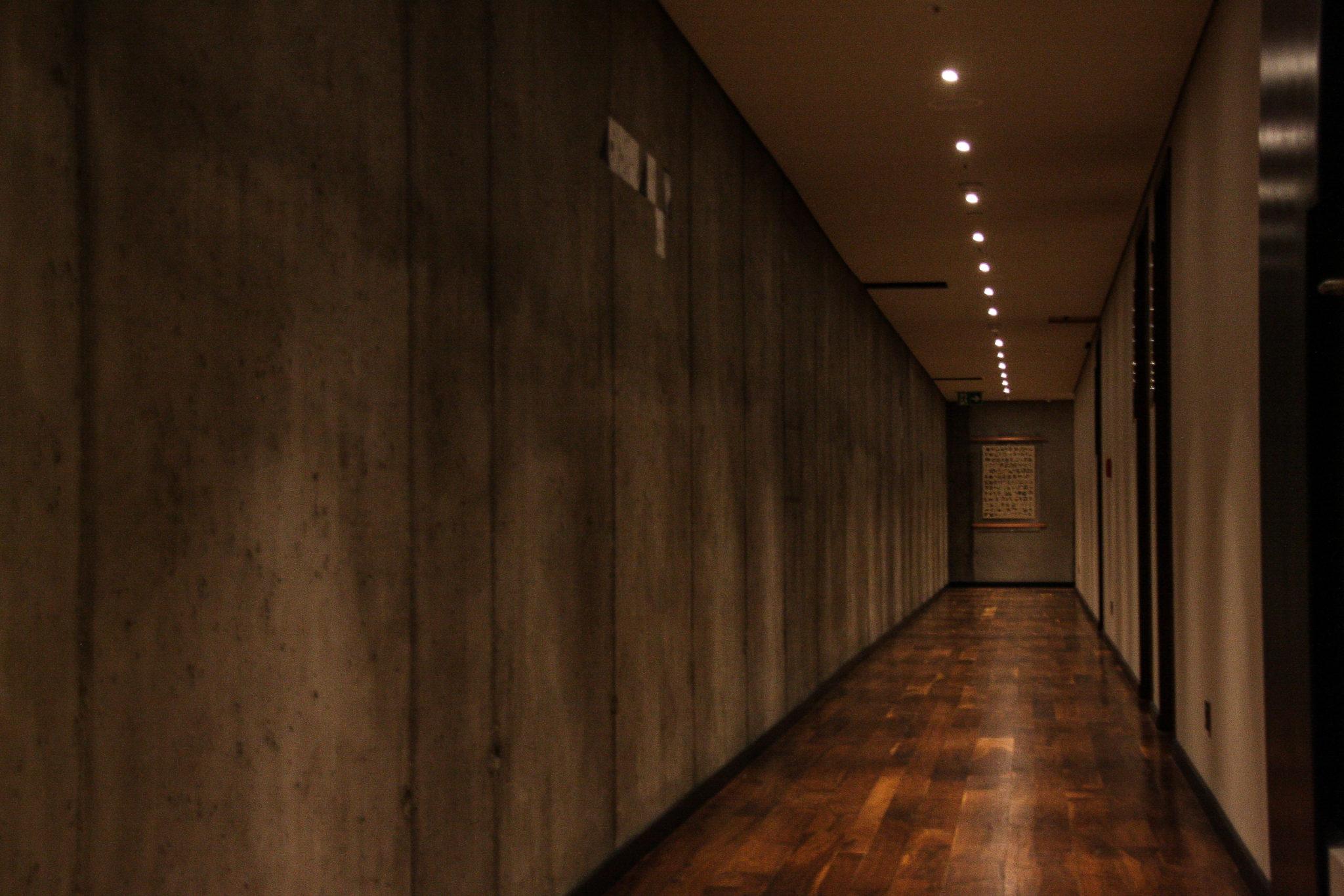 Długi korytarz z drewnianą podłogą i minimalnym światłem