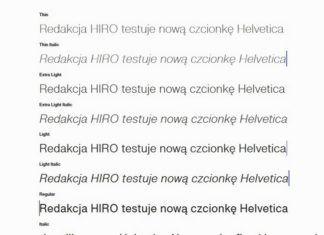 Nowa czcionka Helvetica