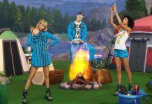 Trójka ludzi stojąca przy wirtualnym ognisku