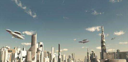 Wizualizacja pokazująca miasto przyszłości