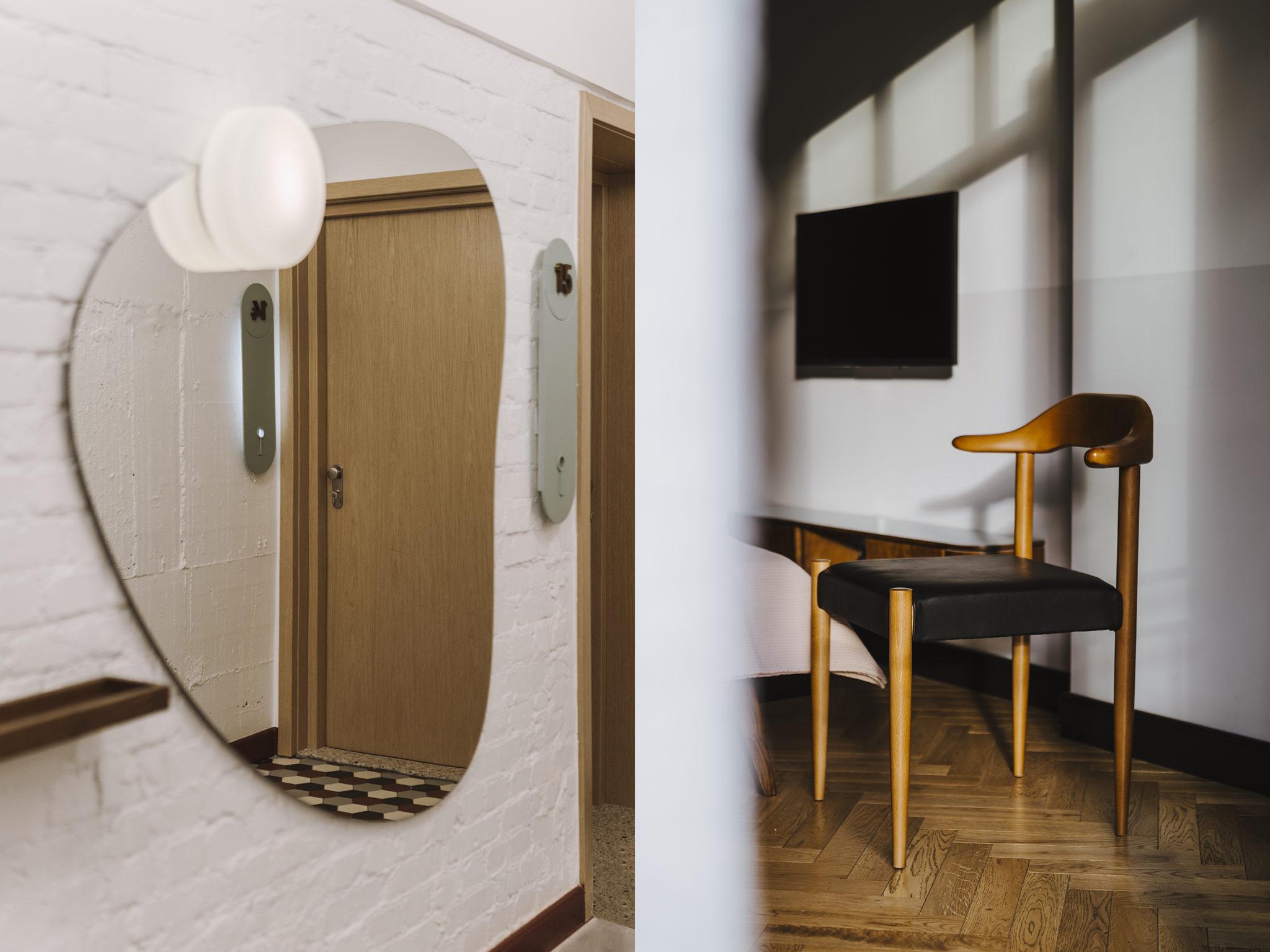 Zdjęcie przedstawiające lustro oraz krzesło