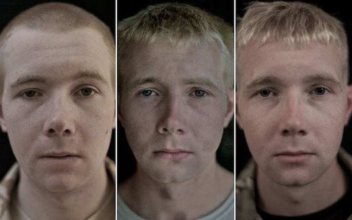 Trzy zdjęcia tego samego mężczyzny przed, w trakcie i po wojnie