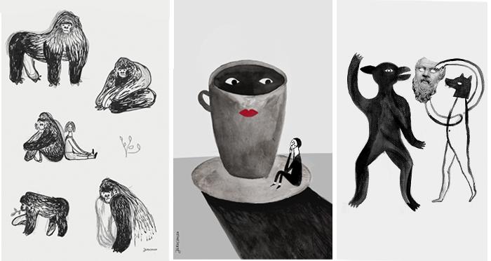Trzy surrealistyczne ilustracje