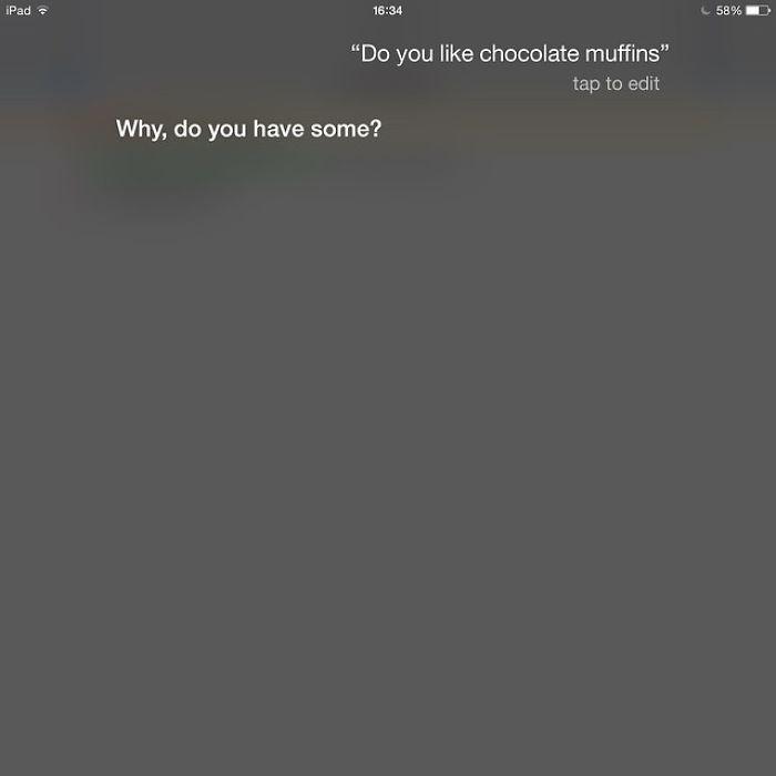 Pytanie do Siri chcesz czekoladę? A masz?