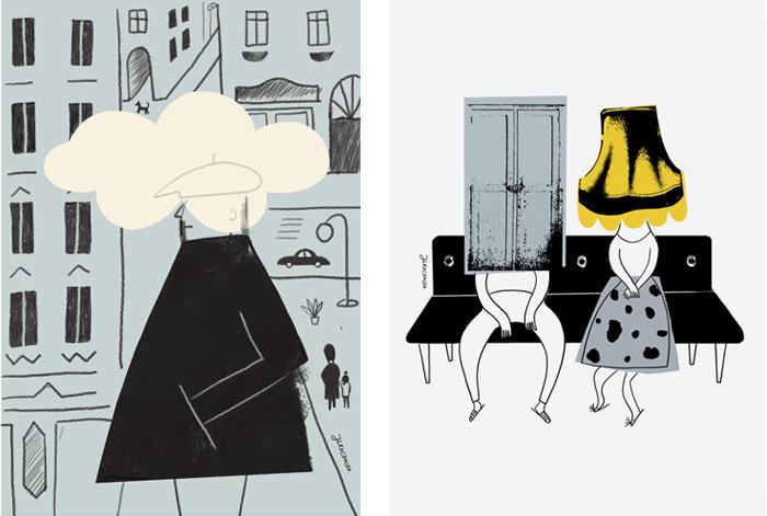 Dwie surrealistyczne ilustracje