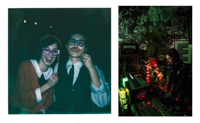 Kolaż: na jednym zdjęciu para ze śmiesznymi okularami, na drugim, dziewczyna za dekami Djskimi