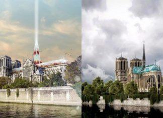 Dwie wizualizacje przedstawiające odbudowaną katedrę Notre Dame