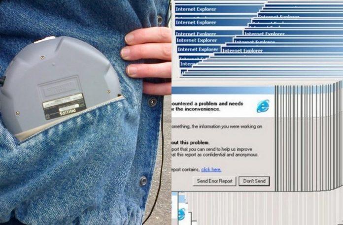 Discman w kieszeni i okna o błędzie Windows