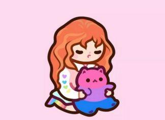 Rysunek przedstawiający dziewczynkę trzymającą małego kotka
