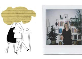 Ilustracja dziewczyny z chmurą na głowie i zdjęcia dziewczyny z polaroida