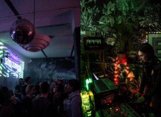 Dziewczyna stojąca przy konsolecie DJskiej i ludzie bawiący się na imprezie