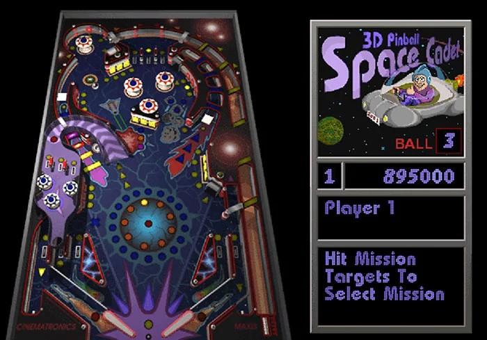 Ekran przedstawiający grę Windowsa pinball
