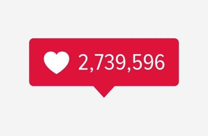 Znak pokazujący liczbę polubień na Instagramie