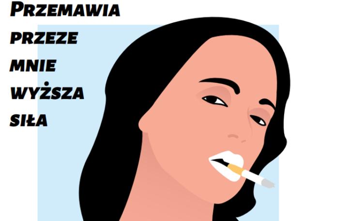 Grafika z kobietą z papierosem w ustach