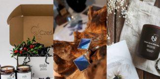 Trzy fragmenty zdjęć przedstawiające kosmetyki i biżuterię