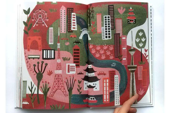 Otwarta książka z wielokolorową ilustracją