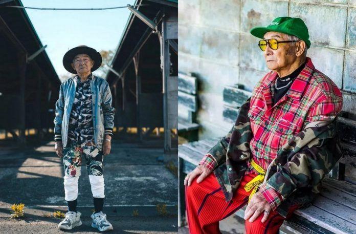 Starszy mężczyzna w dwóch modnych stylizacjach